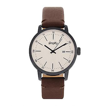 Simplify The 2500 Leather-Band Men's Watch w/ Date - Brown