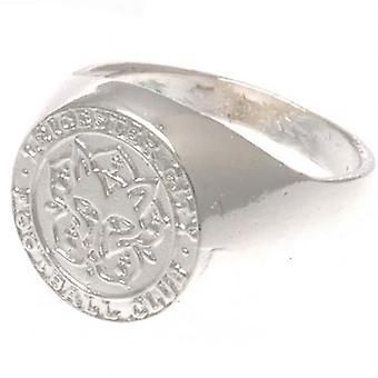 Leicester City Silver Plated Crest Ring Small