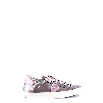 Philippe Modelo Ezbc019028 Mujer's Silver Leather Sneakers