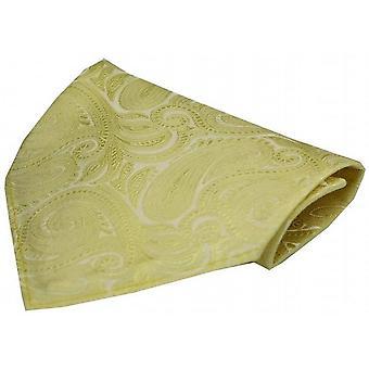 David Van Hagen luksusowych Paisley jedwabną chustką - Pastel żółty