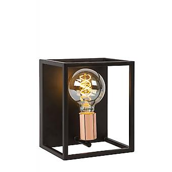 Lucide Arthur Modern Rectangle Metal Black And Copper Wall Light