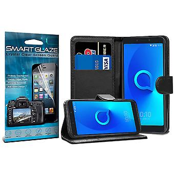 For Alcatel 3V - Black Stand Wallet PU Leather Case with Smart Glaze Screen Protector by i-Tronixs