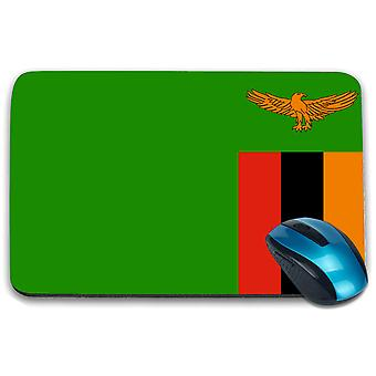i-Tronixs - Zambia Flag Printed Design Non-Slip Rectangular Mouse Mat for Office / Home / Gaming - 0196