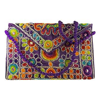 Silk Handbag Peacock Clutch Violet by Silk Sauvage at Pashmina & Silk