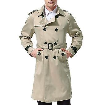 Cappotto da uomo allthemen Lapel Slim Fit solido cappotto lungo doppio petto