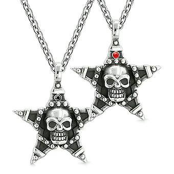 Alle sehenden Schädel Sterne Pentagramm Liebespaare oder beste Freunde rote schwarze Kristalle Amulett Ketten