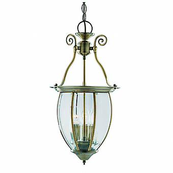 3 Light Ceiling Lantern Pendant Antique Brass, Glass