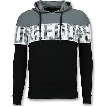 Striped Hooded SweaT-Shirt - Hoodies Black - Grey