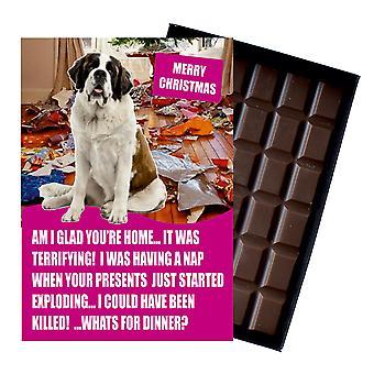 Regalo de Navidad divertido de San Bernardo para el amante del perro en caja chocolate tarjeta de felicitación de Navidad presente