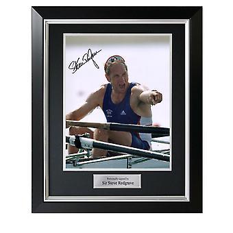 Steve Redgrave ondertekende roei foto: vijf keer Olympisch kampioen. In Deluxe frame