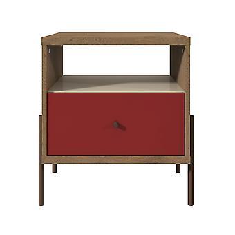 Manhattan comfort  joy 1-full extension drawer nightstand in red