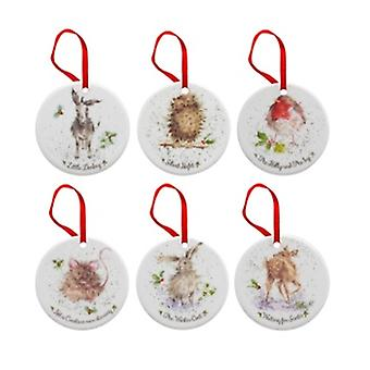 Wrendale Designs Set of 6 Disc Bauble Decorations|Handpicked Gifts