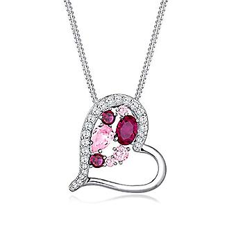Elli Necklace with Women's Heart In Silver with Swarovski Crystals - 45 cm