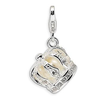 925 Sterling Silver Polished Rhodium plated Fancy Lobster Closure Crystal and Freshwater Cult Pearl Crown With Lobster C