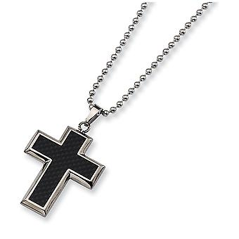 Titanium Polished Engravable Fancy Lobster Closure Carbon Fiber Religious Faith Cross Necklace 22 Inch Jewelry Gifts for