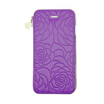iPhone 6/6s - 4.7 Inch Nappa Embossed Camellia Folio Hard Shell Purple