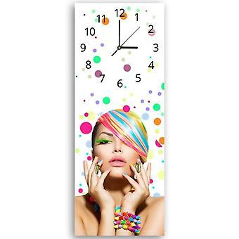 Reloj decorativo con percha, mujer colorida