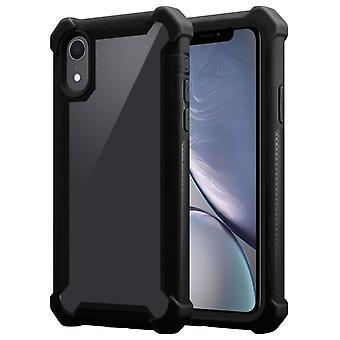 Cadorabo Case voor Apple iPhone XR gevaldekking-2-in-1 telefoon geval met TPU silicone rand en acryl glas terug-beschermende zaak hybride hard case terug geval