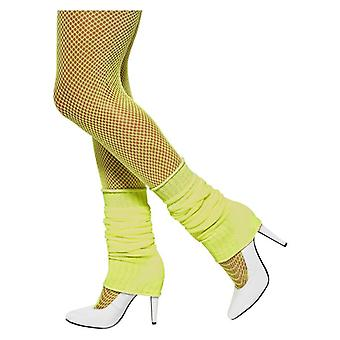 Womens Neon Giallo 80s scaldamuscoli costume accessorio