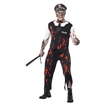 Pánske dospelí zombie policajt Halloween maškarný kostým