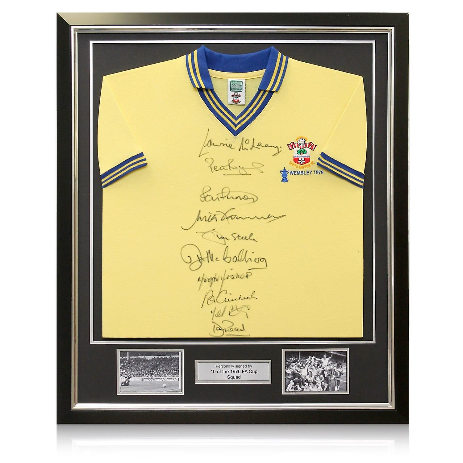 Southampton 1976 FA Cup Winners Signed Shirt. In Deluxe Frame