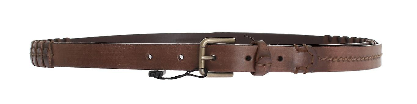 Brown Natural Leather Gold Buckle Belt