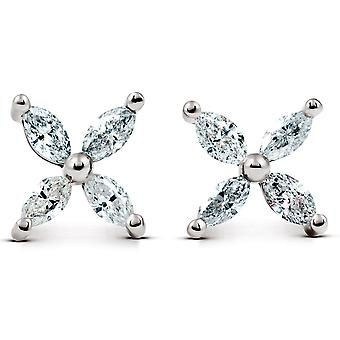5/8ct timantti kahdeksan-kivi Marquise nastat 14K valkoinen kulta naisten korva korut