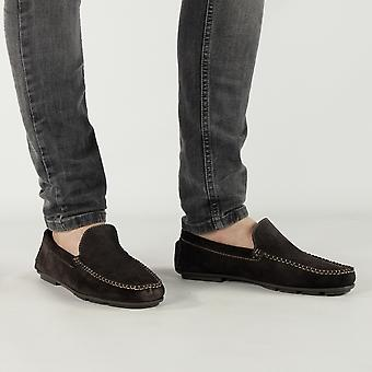 Catesby Shoemakers Joshua Mens Suede Leather Driving Loafers Brown