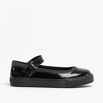 Kickers Tovni Mj Girls Leather/patent Mary Jane Shoes Black