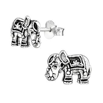 Elephant - 925 Sterling Silver Plain Ear Studs - W38988X