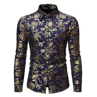 Allthemen Mens Casual Slim Fit Square Neck T-Shirt Revers Langarm Gold gedruckt Blumen Druck Shirt