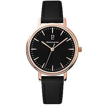 Watch Pierre Lannier 092 L 933 - black leather bracelet watch