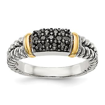 925 Sterling Silver Textured Polished With 14k 1/8ct. Black Diamond Ring Jewelry Gifts for Women - Ring Size: 6 to 8