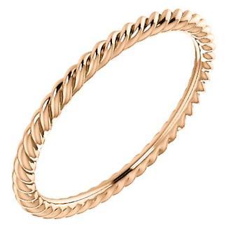 14k Rose Gold Storlek 5 polerad Skinny Rope Band Ring Smycken Gåvor för kvinnor - 1,2 gram