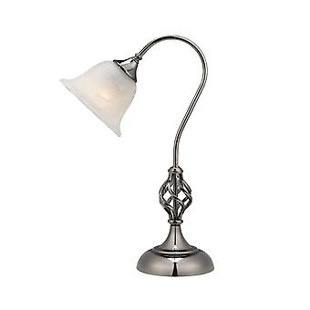 THLC Classic Swan Neck Table Lamp In Gun Metal Finish With Frosted Alabaster Style Shade Cltlgm