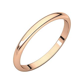 18k Rose Gold 1.5mm Half Round Band Ring Jewelry Gifts for Women - Ring Size: 4.5 to 7