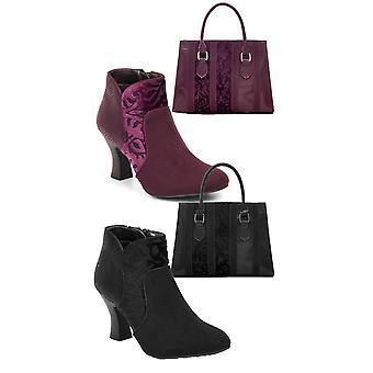 Ruby Shoo Women's Kennedy Boots & Matching Panama Bag