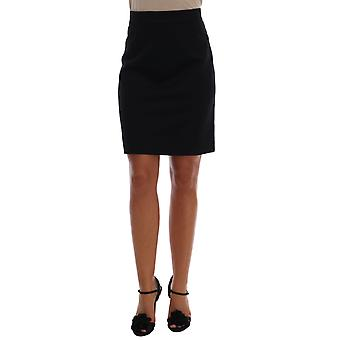 Dolce & Gabbana Black Cashmere Straight Pencil Skirt