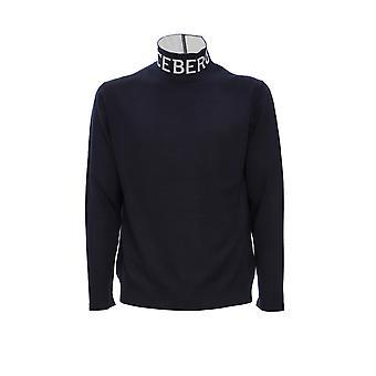 Iceberg A00370096689 Men's Blue Wool Sweater