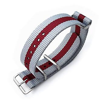Strapcode n.a.t.o watch strap miltat 20mm or 22mm g10 miltat 20mm or 22mm ballistic nylon armband, brushed - grey & burgundy red