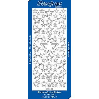 Starform Stickers Christmas Stars 3: Large (10 Sheets) - Silver - 0856.002 - 10X23CM