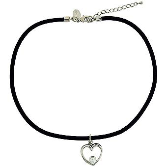 Henley Glamour Girls Heart & White Simulated Pearl Necklace on Black Cord In Box