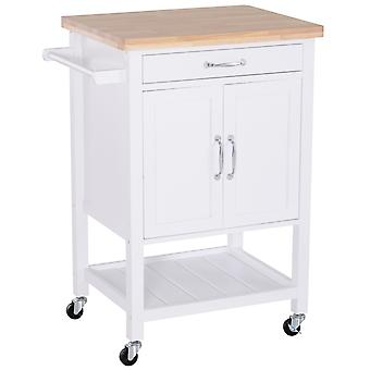 HOMCOM Kitchen Storage Trolley Cart Rolling Wheels Shelves Cupboard W/ Drawer And Towel Rail Rubber Wood Worktop White