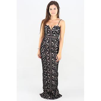 Emma lace sleeveless evening dress