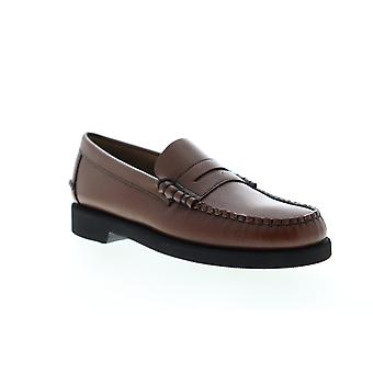 Sebago Dan Rice Polaris  Mens Brown Leather Dress Slip On Loafers Shoes