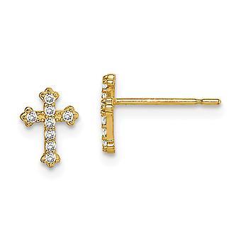 14k Madi K CZ Cubic Zirconia Simulerad Diamond religiös tro Cross Post Örhängen Smycken Gåvor för kvinnor