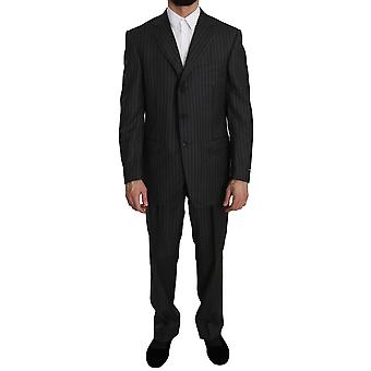 Ermenegildo Zegna Gray Striped  2 Piece 3 Button Suit -- KOS1694576