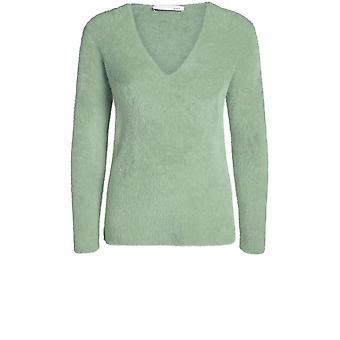 Oui Khaki Textured Knit Sweater