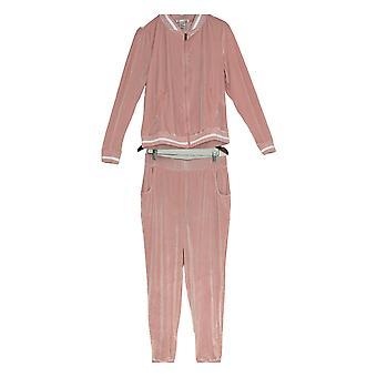 K Jordan Women's Velvet Jacket Zip Front & Jogger Pants 2 Piece Set Pink