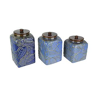 Set of 3 Blue / Brown Fish Design Ceramic Kitchen Canisters